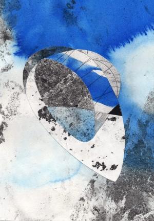 Collage der Künstlerin Adriane Wachholz mit dem Titel correspondancevide190420_1-2020 aus Zeichnungen, Grafit und Tusche auf Papier. Zum Kauf erhältlich über StayHome-BuyArt.de